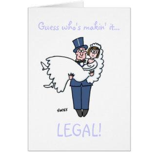 Reserva divertida del boda del abogado la tarjeta