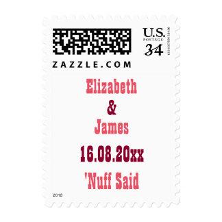 Reserva divertida el sello de la postal del boda