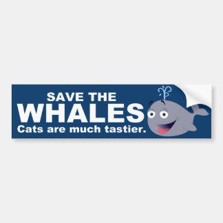 Reserva divertida la cita de las ballenas etiqueta de parachoque
