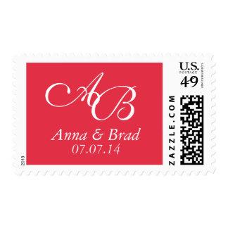 Reserva doble del boda del monograma el rojo de la sellos