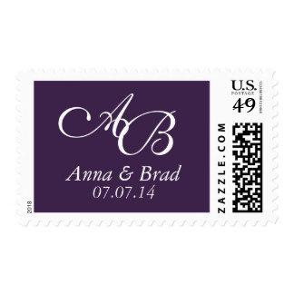 Reserva doble del boda del monograma la púrpura de franqueo