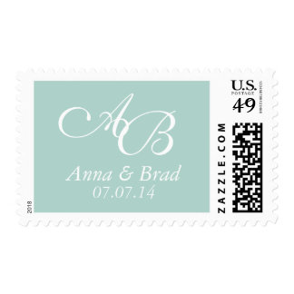 Reserva doble del boda del monograma la verde sello postal