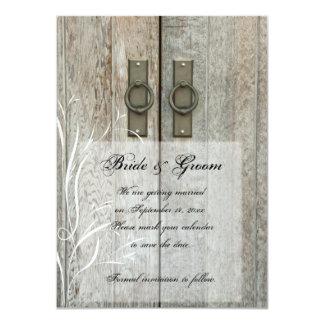 Reserva doble del boda del país de las puertas de invitación 11,4 x 15,8 cm