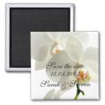 Reserva elegante blanca de lujo de la orquídea la  imán de nevera
