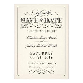 Reserva elegante blanca del vintage la fecha invitación