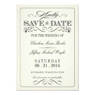 Reserva elegante blanca del vintage la fecha invitación 11,4 x 15,8 cm
