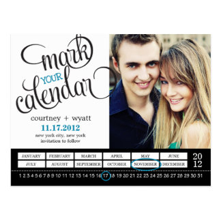 Reserva elegante de la foto del calendario la post tarjeta postal