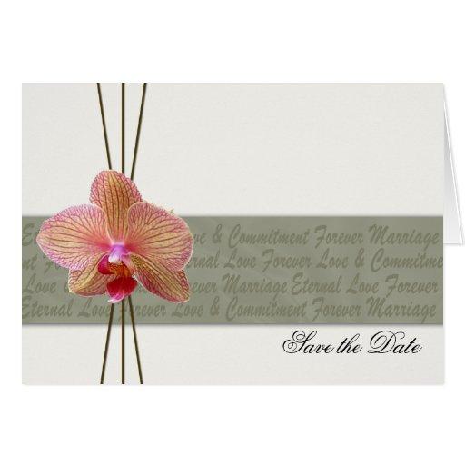 Reserva elegante de la orquídea la fecha 2 tarjeta de felicitación