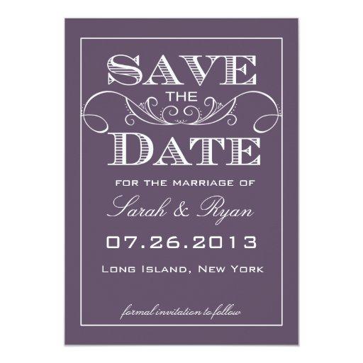 Reserva elegante de la púrpura la invitación de la invitación 12,7 x 17,8 cm