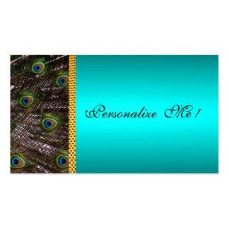 Reserva elegante de la tarjeta del pavo real la tarjetas de visita
