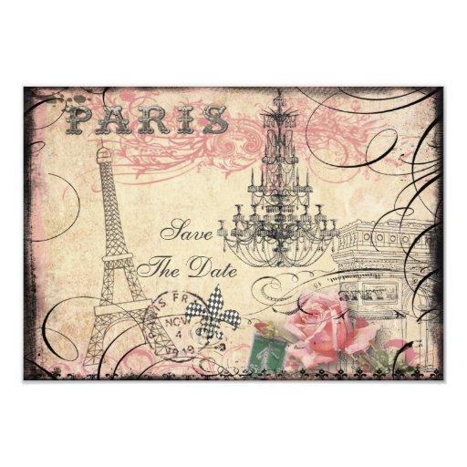 """Reserva elegante de la torre Eiffel y de la Invitación 3.5"""" X 5"""""""