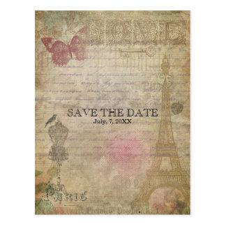 RESERVA elegante del boda de París del vintage la Postales