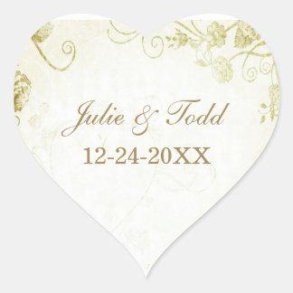 Reserva elegante del boda del oro la fecha pegatina en forma de corazón