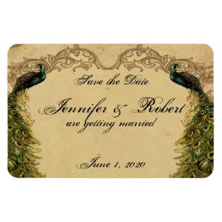 Reserva elegante del boda del pavo real elegante imanes de vinilo