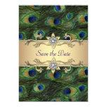 Reserva elegante del boda del pavo real la fecha comunicados personalizados