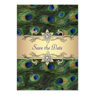 Reserva elegante del boda del pavo real la fecha invitación 12,7 x 17,8 cm