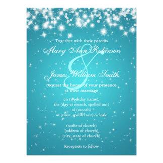Reserva elegante del boda el azul de la chispa del invitaciones personalizada