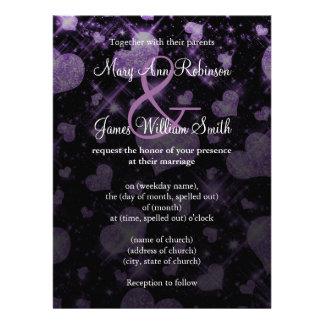 Reserva elegante del boda la púrpura del corazón d comunicados personalizados