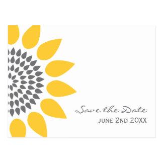 Reserva elegante del girasol la fecha postal
