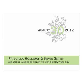 Reserva elegante del gris del verde del apio de la tarjetas postales