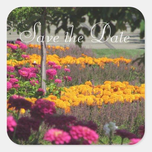 Reserva elegante del jardín la fecha pegatina cuadrada
