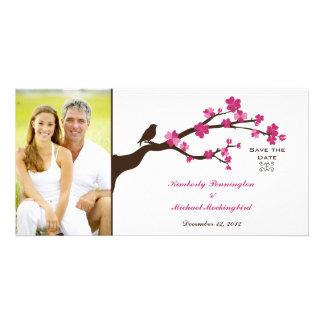 Reserva elegante del pájaro de la flor de cerezo l tarjetas fotográficas