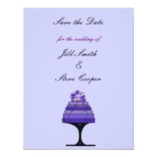 """Reserva elegante del pastel de bodas la fecha invitación 4.25"""" x 5.5"""""""