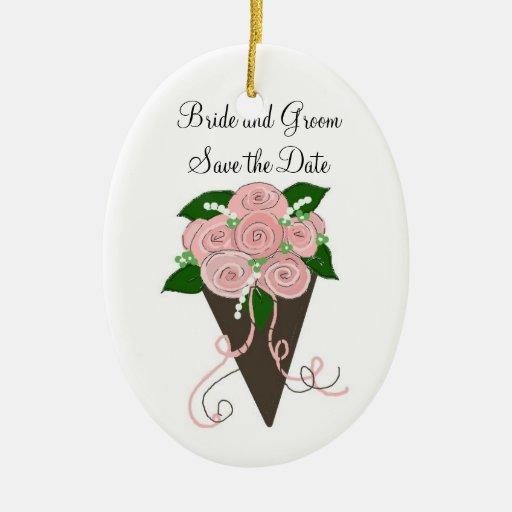Reserva elegante del ramo del boda la fecha adorno navideño ovalado de cerámica