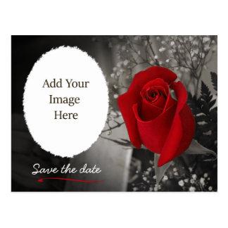 Reserva elegante del rosa rojo la foto de la fecha postal