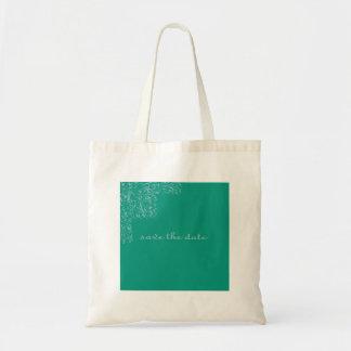 Reserva elegante el diseño floral de la fecha bolsa de mano