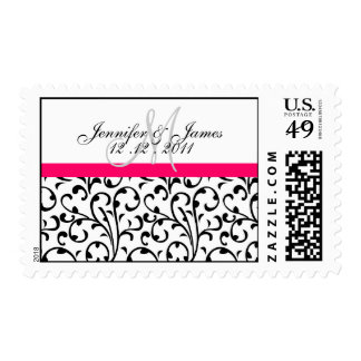 Reserva elegante el franqueo del monograma del sellos postales