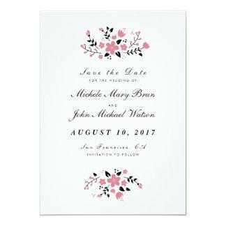 """Reserva elegante floral bonita la tarjeta plana de invitación 5"""" x 7"""""""