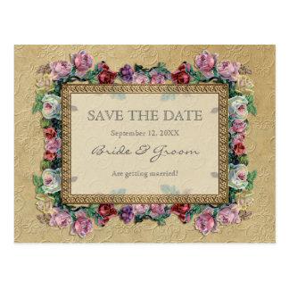 Reserva elegante formal floral del brocado del oro tarjeta postal