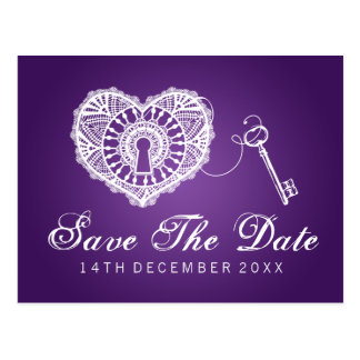 Reserva elegante la llave de la fecha a mi púrpura postales