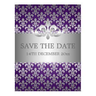 Reserva elegante la púrpura de la flor de lis de l postal