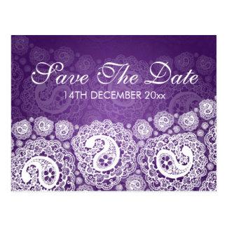 Reserva elegante la púrpura del cordón de Paisley Postales
