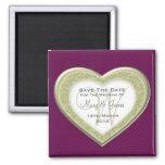 Reserva elegante la púrpura del oro del corazón imanes para frigoríficos