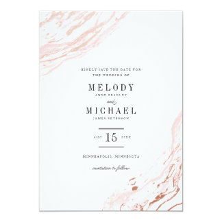 """Reserva elegante moderna de mármol rosada la fecha invitación 5"""" x 7"""""""