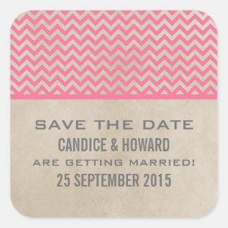Reserva elegante rosada de Chevron los pegatinas Pegatina Cuadradas Personalizada