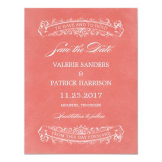 """Reserva elegante rústica del boda la fecha - coral invitación 4.25"""" x 5.5"""""""