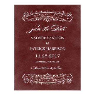 """Reserva elegante rústica del boda la fecha - rojo invitación 4.25"""" x 5.5"""""""