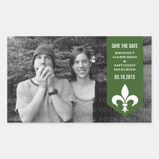 Reserva elegante verde de la bandera del Flourish Pegatina Rectangular