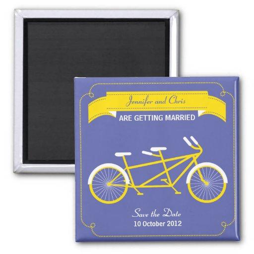 Reserva en tándem de la bici (amarilla/azul) la fe imán