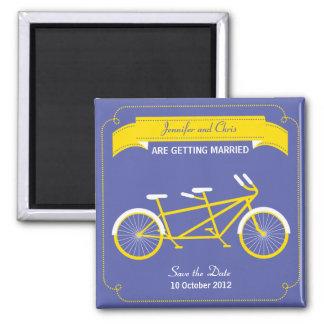 Reserva en tándem de la bici (amarilla/azul) la imán cuadrado