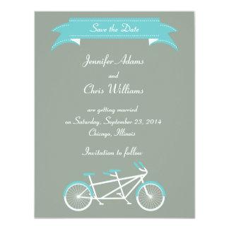 """Reserva en tándem de la bici (gris/azul) la fecha invitación 4.25"""" x 5.5"""""""