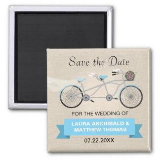 Reserva en tándem de la bicicleta la fecha imán cuadrado