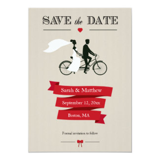 Reserva en tándem de la bicicleta las tarjetas de invitacion personalizada