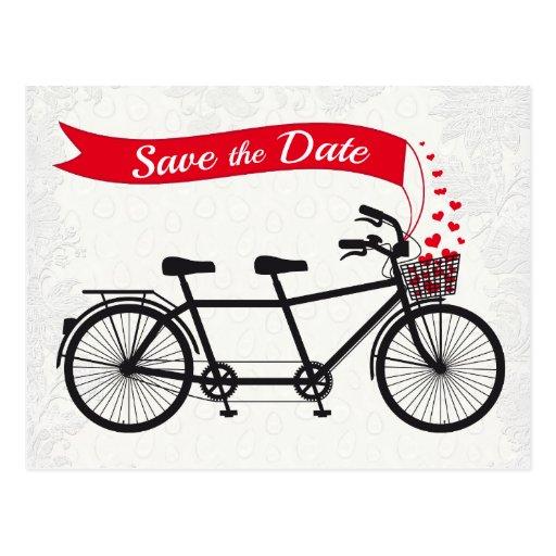 Reserva en tándem de la bicicleta los corazones de postal