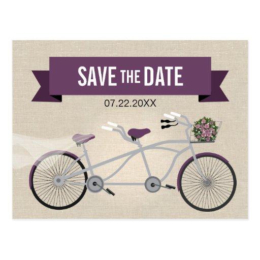 Reserva en tándem del boda de la bicicleta del tarjeta postal
