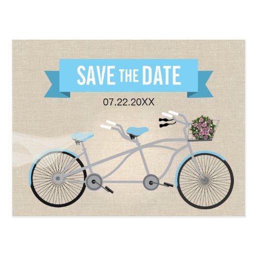 Reserva en tándem del boda de la bicicleta la fech tarjetas postales
